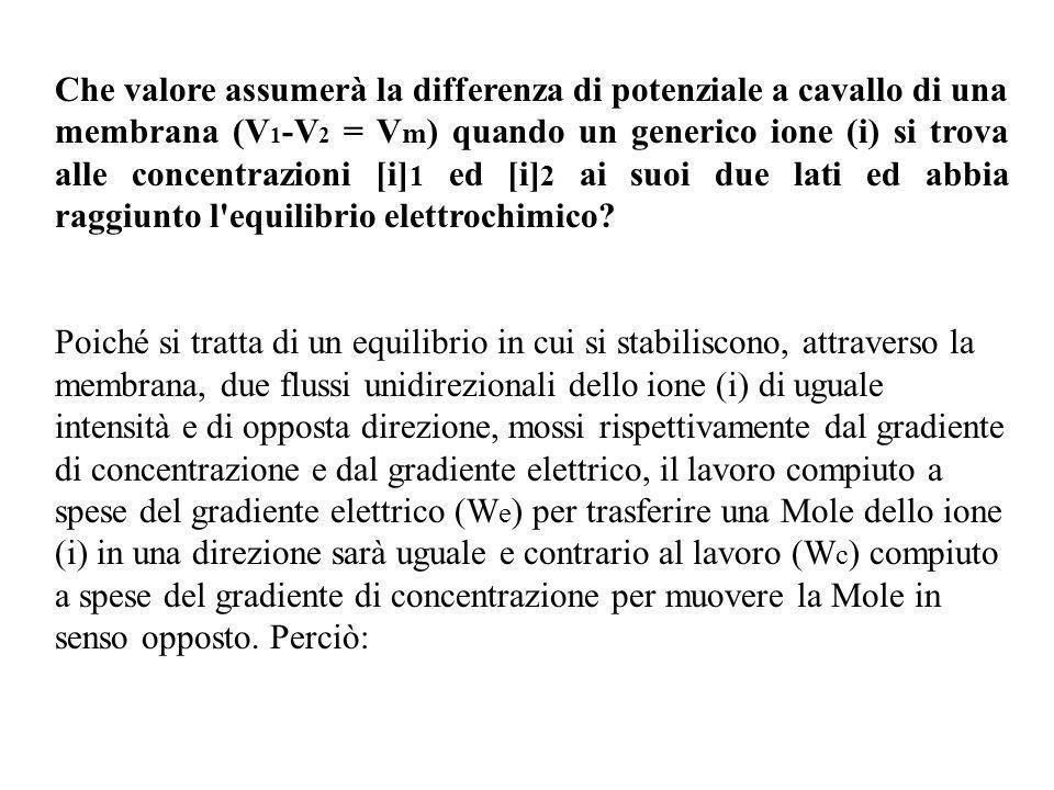 Che valore assumerà la differenza di potenziale a cavallo di una membrana (V1-V2 = Vm) quando un generico ione (i) si trova alle concentrazioni [i]1 ed [i]2 ai suoi due lati ed abbia raggiunto l equilibrio elettrochimico